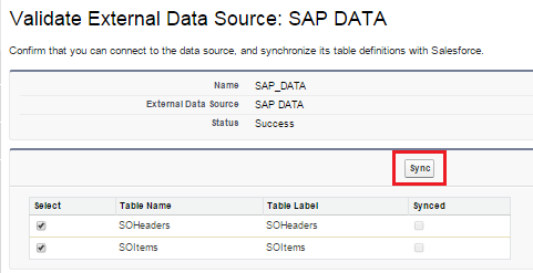 validate and synchronize with the SAP.
