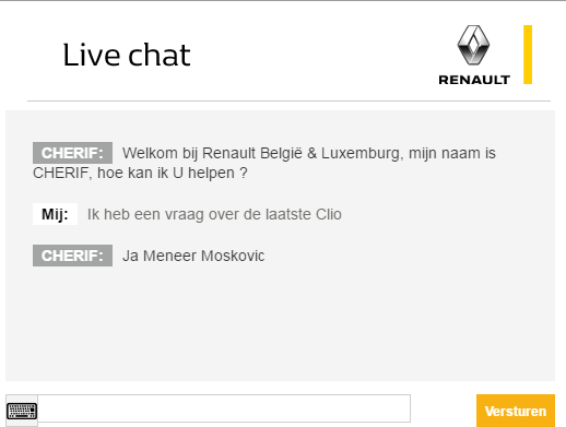 Live chat Renault in Dutch