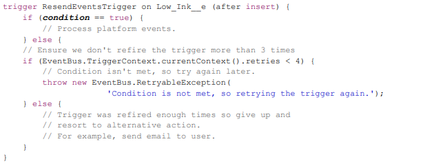 Refire Event Triggers with EventBus.RetryableException